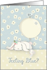 Encouragement Feeling Blue Bunnies & Bird Balloon Flowers Cute card