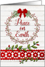 Merry Christmas Peace on Earth Rustic Pretty Berry Wreath and Vines card