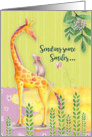 Get Well Soon Cute and Colorful Giraffe, Mouse, Butterfly, and Flowers card
