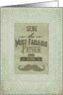 Happy Father's Son Fabulous Father Vintage Mustache Chevron card