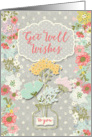 Get Well Wishes Pretty Flowers on Polka Dots Scrapbook Style card
