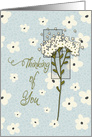 Thinking of You Pretty Flowers in Cream and Blue card