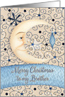 Merry Christmas to Brother Crescent Moon & Stars and Ornament card