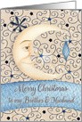 Merry Christmas to Brother & Husband Crescent Moon, Stars and Ornament card