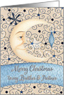 Merry Christmas to Brother & Partner Crescent Moon, Stars and Ornament card
