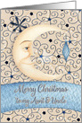Merry Christmas to Aunt & Uncle Crescent Moon, Stars, and Ornament card