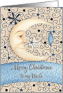 Merry Christmas to Uncle Crescent Moon, Stars, and Ornament card