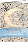 Happy Holidays Custom Name Crescent Moon, Stars, and Ornament card
