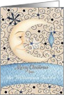 Merry Christmas Custom Name Crescent Moon, Stars, and Ornament card