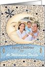 Merry Christmas Custom Name Crescent Moon & Stars, Custom Photo Card