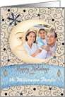 Happy Holidays Custom Name and Custom Photo Crescent Moon, Stars card