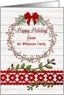 Happy Holidays Custom Name Rustic Pretty Berry Wreath, Vines card