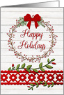 Happy Holidays Rustic Pretty Berry Wreath and Vines card