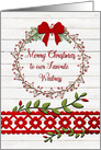 Merry Christmas to Waitress Rustic Pretty Berry Wreath and Vines card