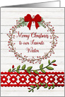 Merry Christmas to Waiter Rustic Pretty Berry Wreath and Vines card