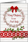 Merry Christmas to Mail Lady Rustic Pretty Berry Wreath and Vines card