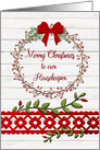 Merry Christmas to Housekeeper Rustic Pretty Berry Wreath and Vines card
