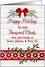 Happy Holidays to Treasured Clients Custom Name Business Rustic card