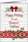 Happy Holidays to Treasured Employees Business Rustic Bow and Pine card
