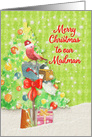 Merry Christmas to Mailman Mailbox with Ribbon, Tree, and Present card