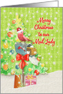 Merry Christmas to Mail Lady Mailbox with Ribbon, Tree, and Present card