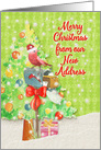 Merry Christmas from New Address Mailbox with Ribbon, Tree, & Present card