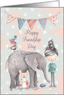 Happy Friendship Day Cute Girl and Animal Friends, Elephant,Bunny,Bird card
