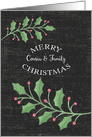 Merry Christmas Cousin and Family Holly Leaves and Snow Chalkboard card