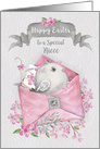 Happy Easter to Niece Cute Bird in a Pink Envelope with Flowers card