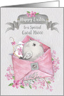 Happy Easter to Great Niece Cute Bird in a Pink Envelope with Flowers card