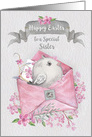 Happy Easter to Sister Cute Bird in a Pink Envelope with Flowers card