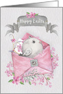 Happy Easter Cute Bird in a Pink Envelope with Flowers card