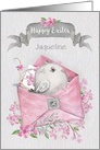 Happy Easter Custom Name Cute Bird in a Pink Envelope with Flowers card