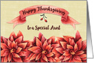 Happy Thanksgiving to a Special Aunt Rust Colored Flowers and Banner card
