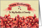 Happy Thanksgiving to Brother and Family Rust Colored Flowers card