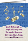 Happy Holidays Jingle Bells and Music Notes Snow and Sheet Music card