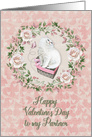 Happy Valentine's Day to my Partner Pretty Kitty Hearts Roses card