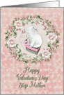 Happy Valentine's Day to Step Mother Pretty Kitty Hearts Roses card