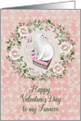 Happy Valentine's Day to Fiancee Pretty Kitty Hearts Roses card