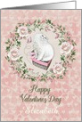 Happy Valentine's Day Custom Name Pretty Kitty Hearts Roses card