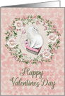 Happy Valentine's Day Pretty Kitty Hearts Roses card