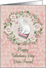 Happy Valentine's Day to Dear Friend Pretty Kitty Hearts Roses card