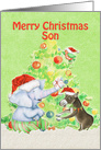 Merry Christmas to Son Cute Elephant,Donkey,Bird and Tree card