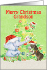 Merry Christmas to Grandson Cute Elephant,Donkey,Bird and Tree card