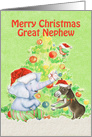 Merry Christmas to Great Nephew Cute Elephant,Donkey,Bird and Tree card