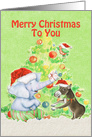 Merry Christmas for Kids Cute Elephant,Donkey,Bird and Tree card