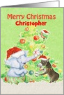 Merry Christmas for Kids Custom Name Cute Elephant,Donkey,Bird & Tree card