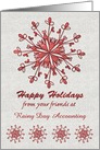 Happy Holidays from Business Custom Business Name Red Shiny Snowflake card