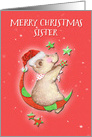 Merry Christmas to Sister Adorable Teddy Bear Moon and Stars card