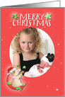 Merry Christmas Adorable Teddy Bear Moon and Stars Custom Photo card